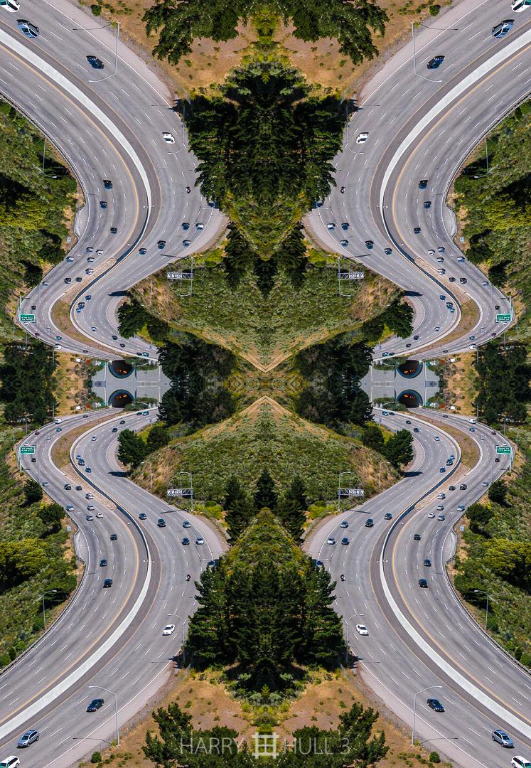 Highway hive. Photo of Highway 101 and south entrance to Waldo Tunnel (aka Rainbow Tunnel), Marin Headlands near Sausalito, California.