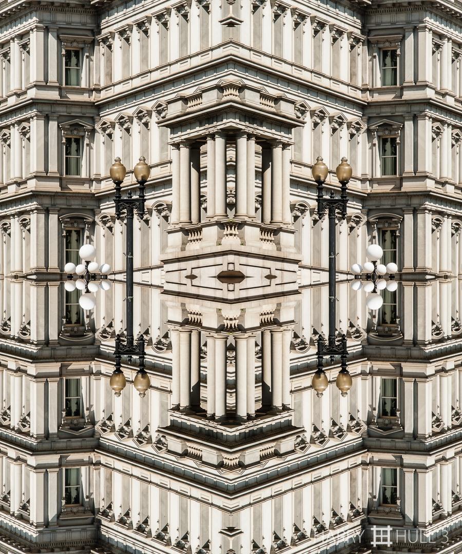 Executive power. Photo of partial facade of the Old Executive Office Building near the White House, Washington, DC.