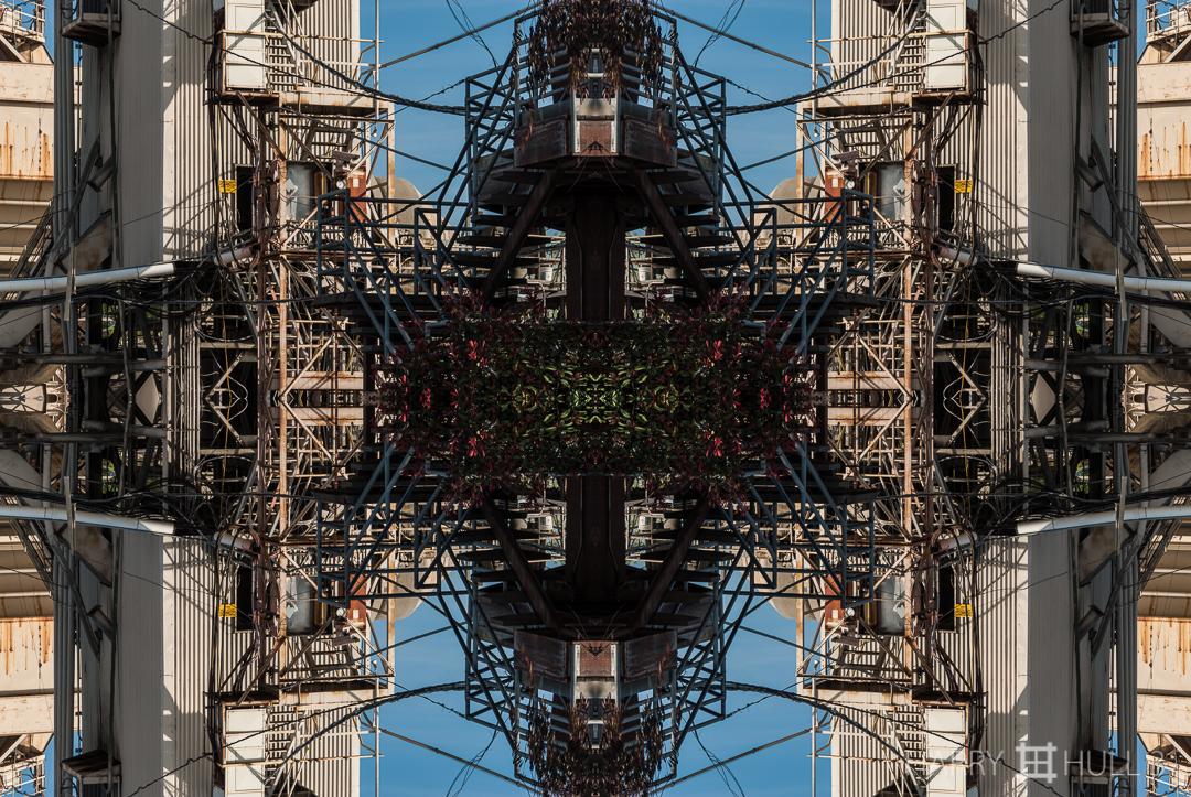 Industrial plant matrix. Photo of cement plant near San Francisco waterfront, California.