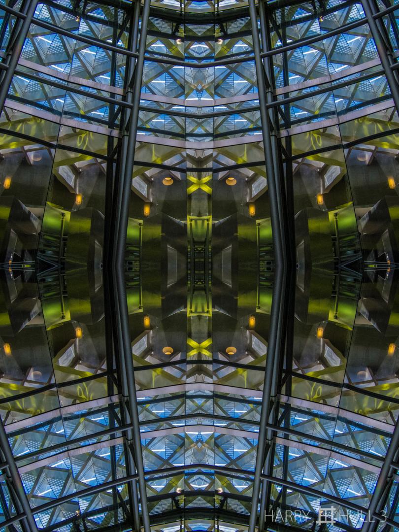 Faceted interior. Photo of an atrium in the Miami International Airport, Florida.