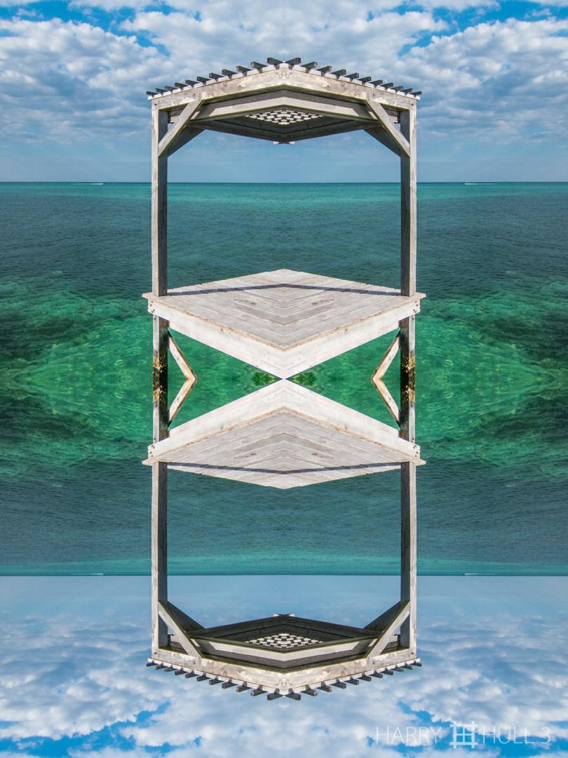 Escher platform. Photo of corner of swimming dock, Matachica Resort on the Caribbean, Ambergris Caye, Belize.