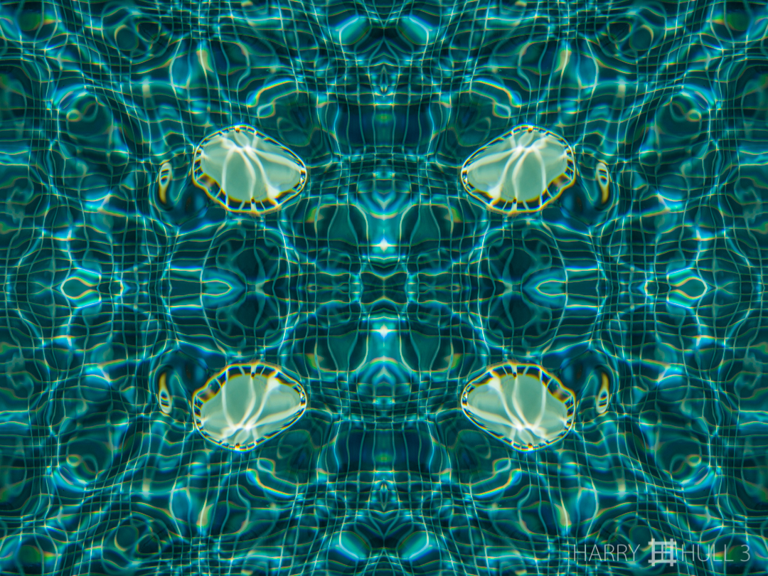 Water and light: study 1. Photo of drain cover in a swimming pool, Pino Colina, San Vito, Costa Rica.