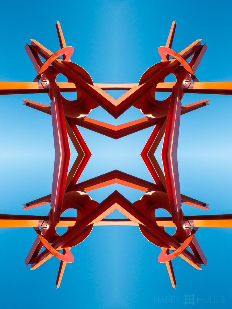 Sky puzzle. Photo of part of  Figolu, a sculpture by Mark De Suvero installed on Crissy Field, Golden Gate National Recreation Area, San Francisco, California.