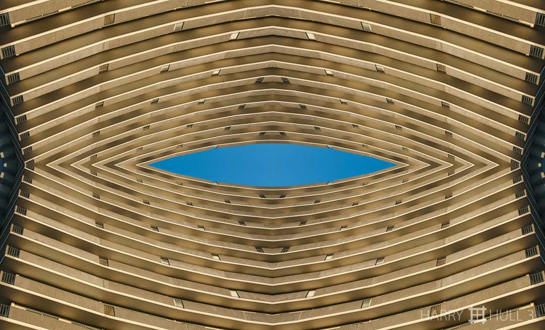 Eye in the sky. Photo of inland side of one of the Fontana Towers near Aquatic Park, San Francisco, California.