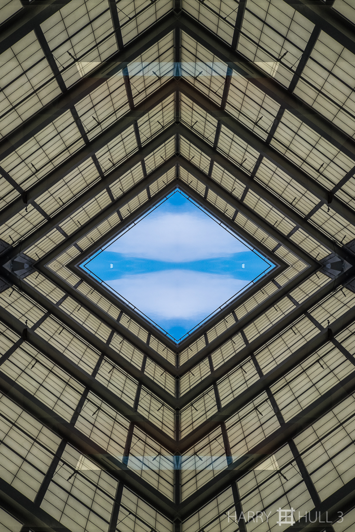 Sky opening. Photo of part of an interior ceiling in one of the buildings of the Los Angeles County Museum of Art, Los Angeles, California.
