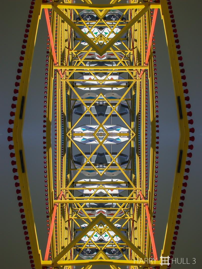 Fair geometry. Photo of part of Ferris wheel, Marin County Fair, California.