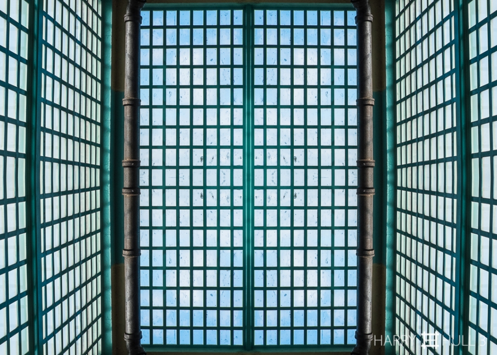 Light cage. Photo of windows at east end of the New Industries Building, Alcatraz National Park, San Francisco, California.